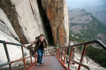 Climbing stairs in Seoraksan