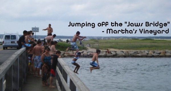 Jumping off the Jaws bridge in Martha's Vineyard
