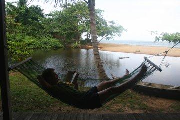 In a hammock at Kribi, Cameroon