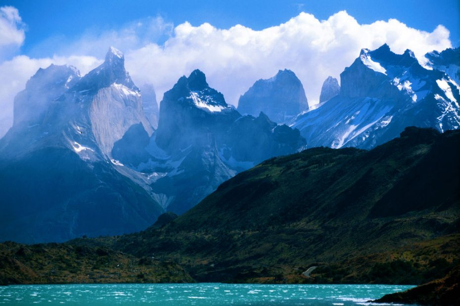 Torres del Paine, Chile, blue lake and mountain spires