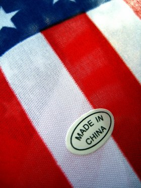 American flag, made in China