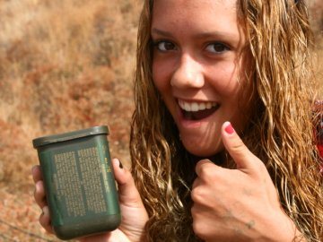 Girl with geocache