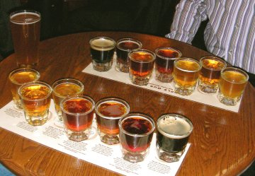 Beer samplers at Boulder's Walnut Brewery