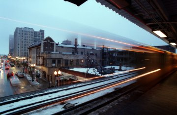 The Chicago El in winter