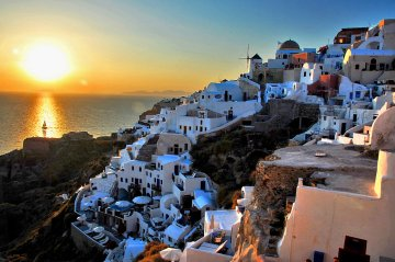 Sunset over the Aegean Sea, Santorini