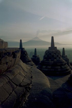 Mt. Merapi and Borobudur