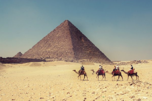 Egyptian pyramids by camel