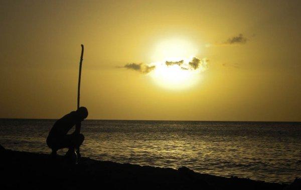 Guadeloupe beach silhoutte