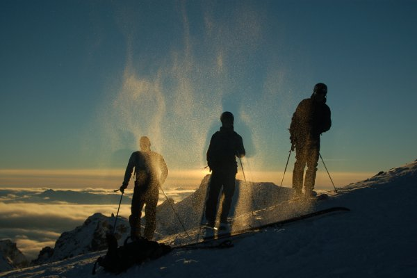Skiers silhouette, Whistler, BC