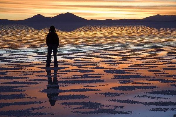Sunset reflected in the Salar de Uyuni, Bolivia