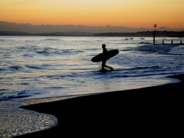 Sunset surf in England