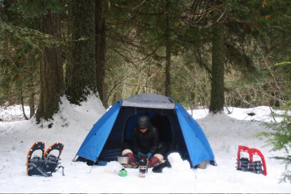 Winter camping in Montana