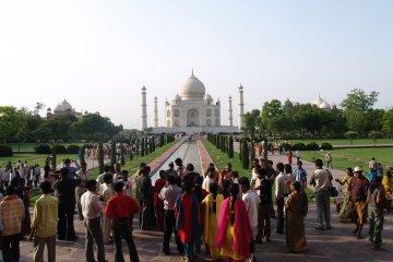 In front of the Taj Mahal