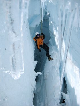 Hanging inside Mt. Rainier glacier