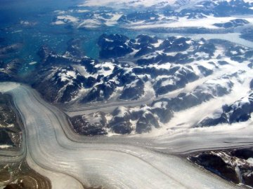 Greenland glacier from the air