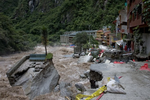 Flooding and destruction in Aguas Calientes, Peru