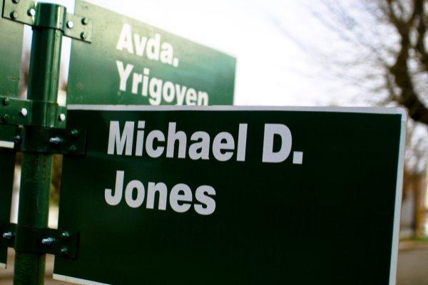 Street sign, Gaiman, Argentina