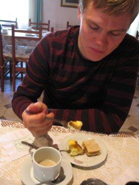 Having tea in Gaiman, Argentina