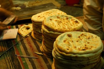 Stacks of roti, Pakistan