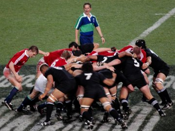 Rugby scrum, New Zealand