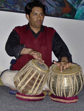 Tabla player at Lahore Chitrkar