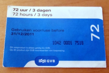 Amsterdam tram ticket