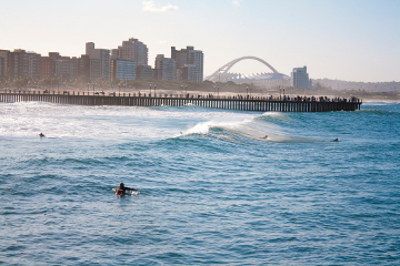 Ocean and surfers, Durban