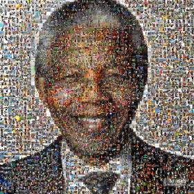 Photographic collage of Nelson Mandela
