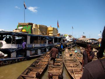 Boarding the ferry in Mopti, Mali