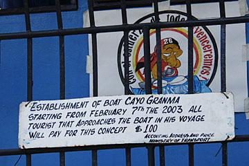 Cayo Granma ferry sign