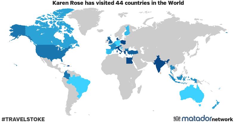 Karen Rose's Travel Map