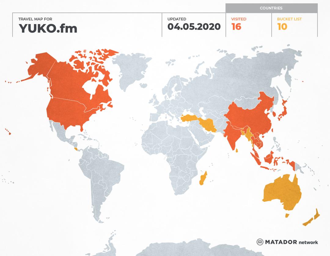 YUKO.fm's Travel Map
