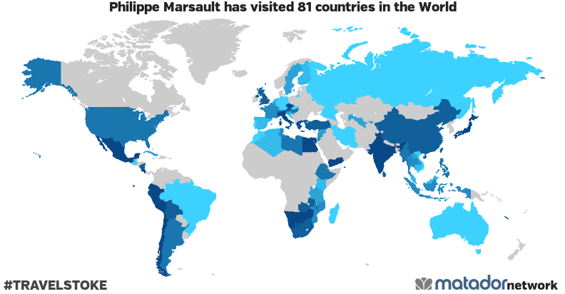 Philippe Marsault�s Travel Map
