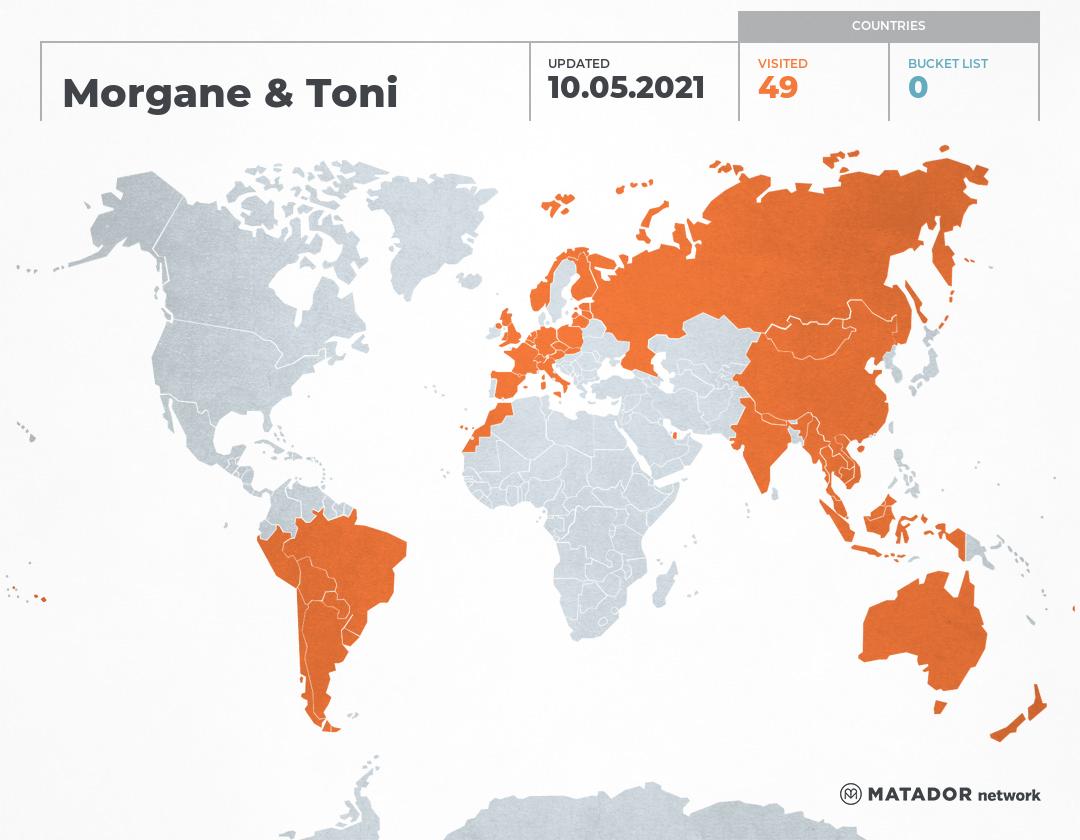 Morgane & Toni's Travel Map