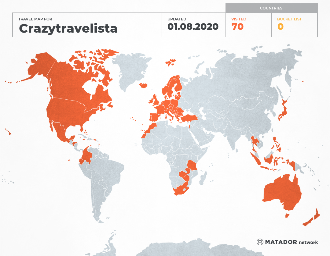 Crazytravelista's Travel Map