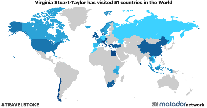 Virginia Stuart-Taylor's Travel Map