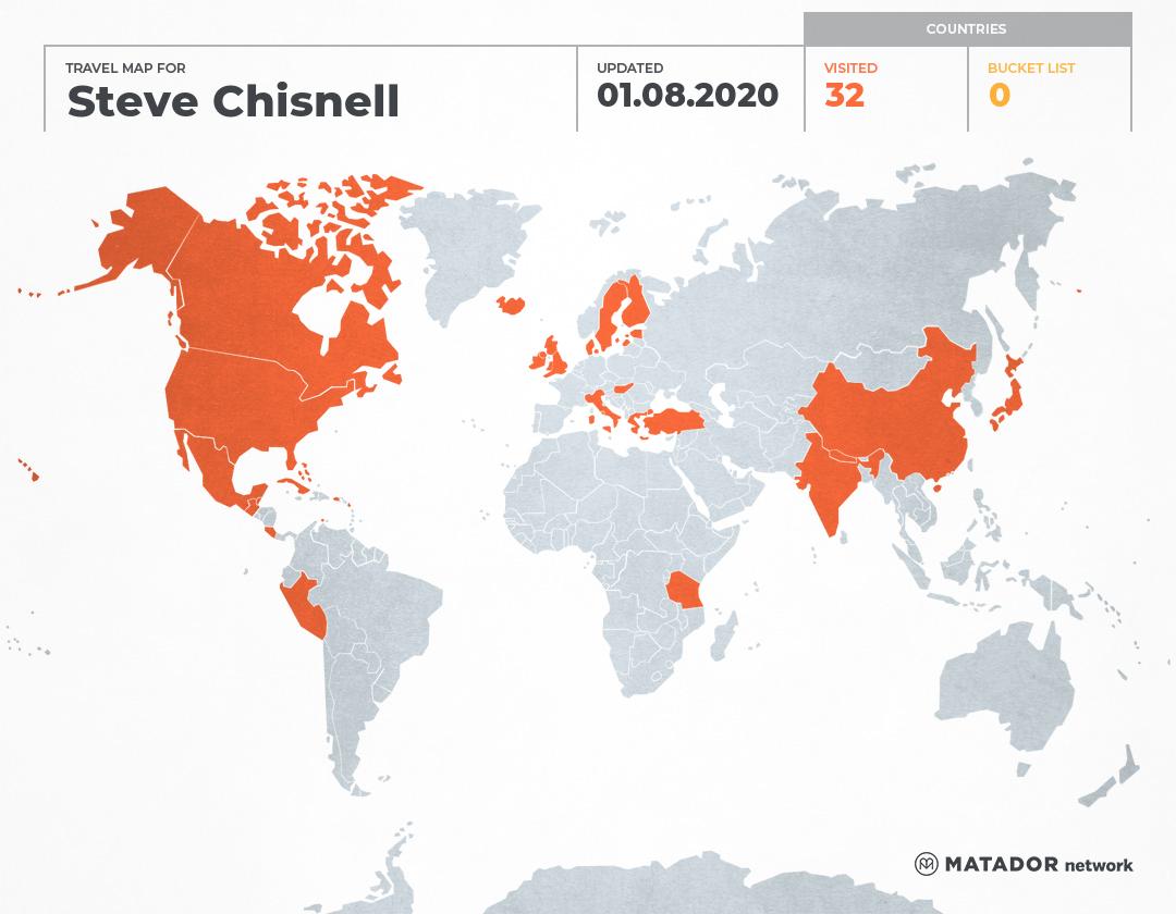 Steve Chisnell's Travel Map