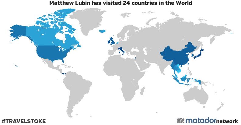 Matthew Lubin's Travel Map