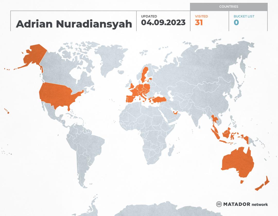 Adrian Nuradiansyah's Travel Map