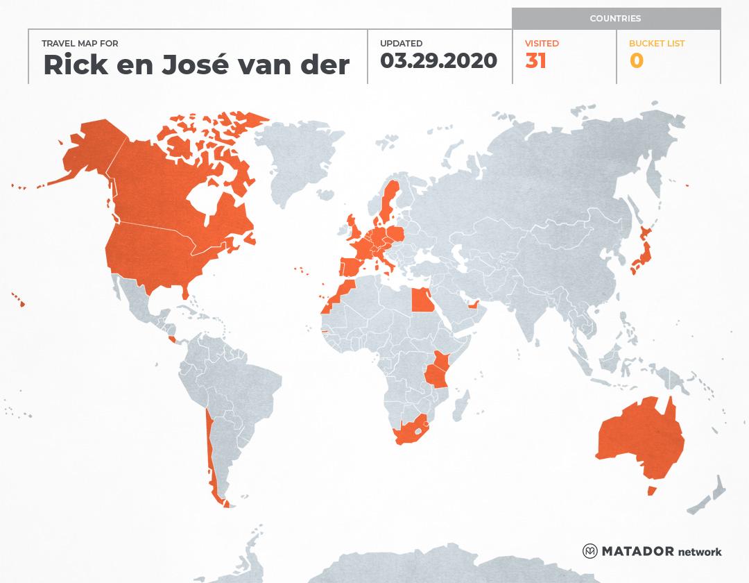 Rick en José van der Weijde's Travel Map