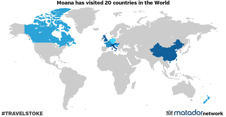 Moana's Travel Map - Matador Network on map of the states and canada, map of the west coast and canada, map of the americas and canada,