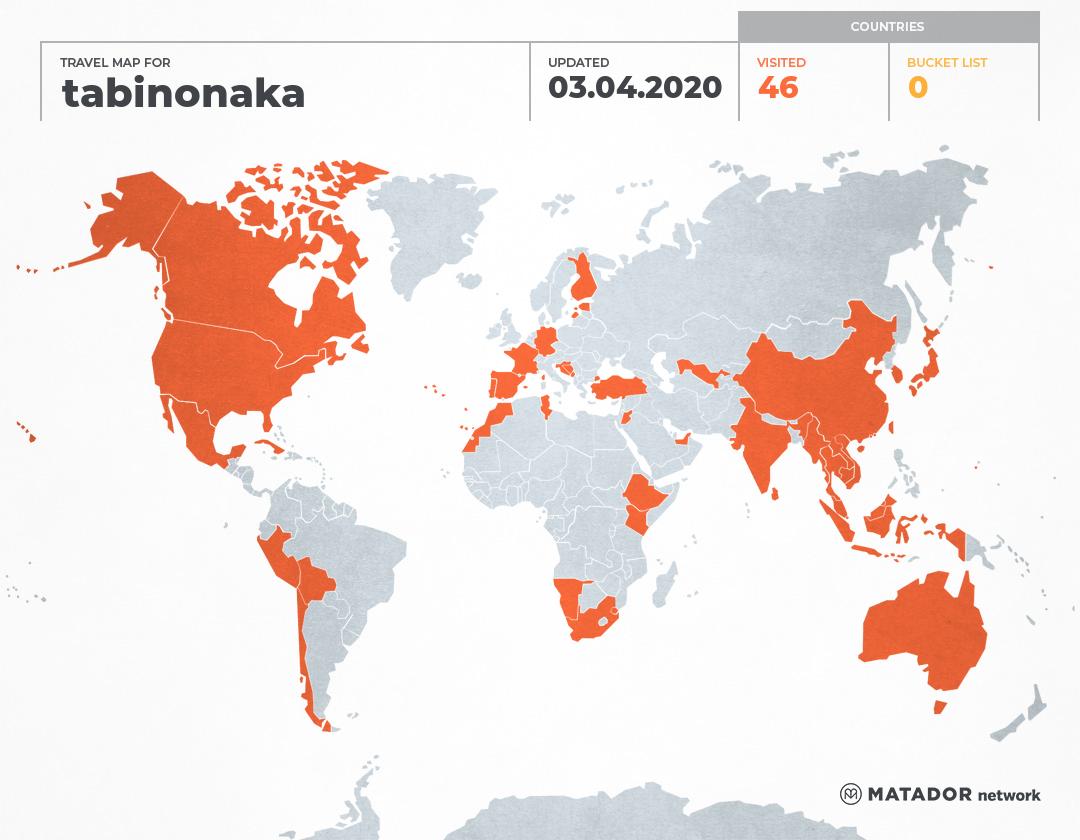 tabinonaka's Travel Map