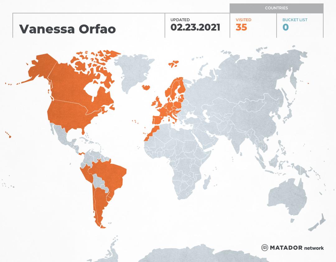 Vanessa Orfao's Travel Map