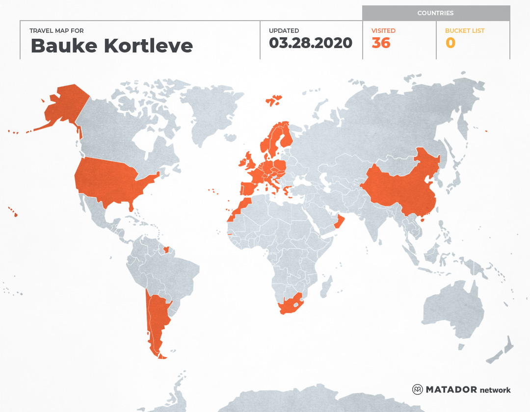 Bauke Kortleve's Travel Map