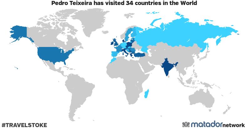 Pedro Teixeira's Travel Map