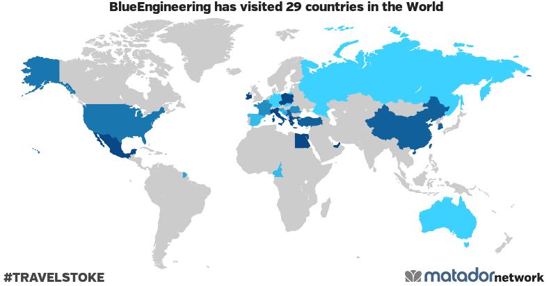 BlueEngineering's Travel Map