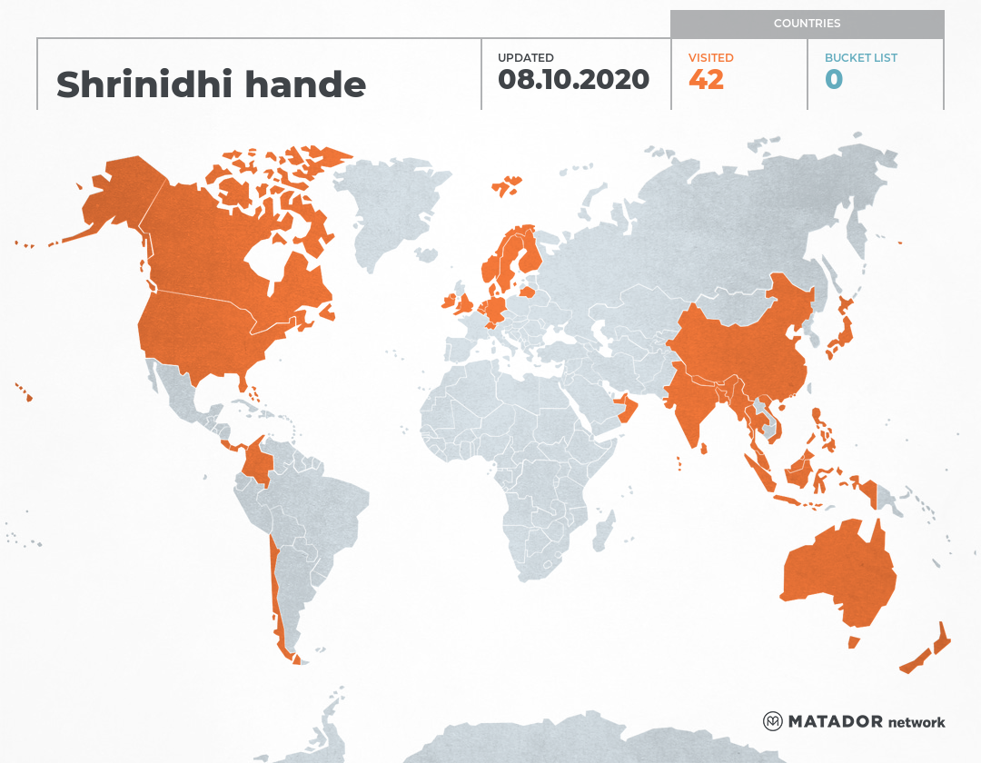 Shrinidhi handes travel map matador network shrinidhi hande has been to australia belgium bhutan switzerland chile germany denmark finland hong kong indonesia india japan sri lanka gumiabroncs Image collections