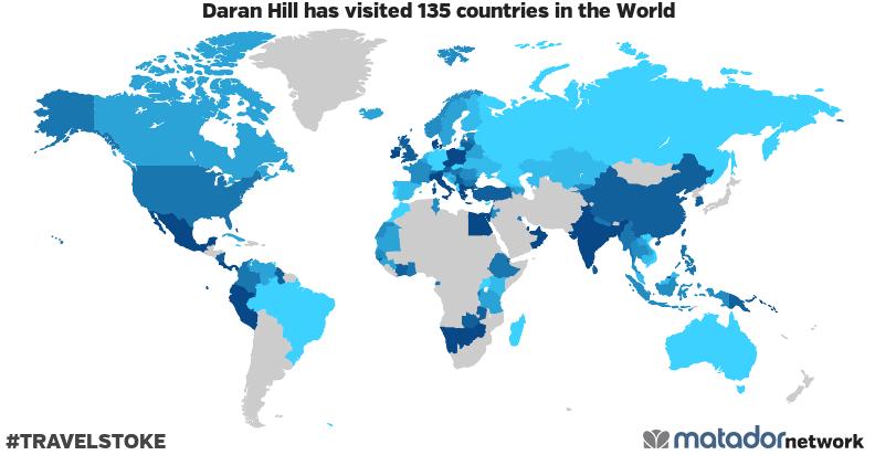 Daran Hill's Travel Map